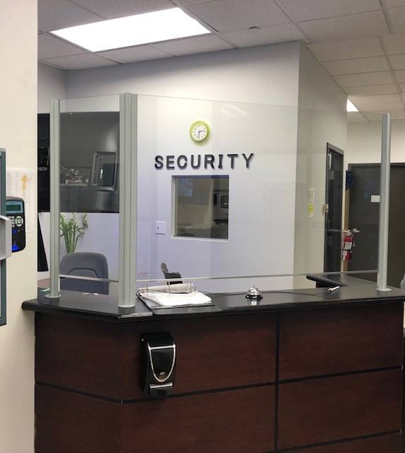 security booth with glass partition